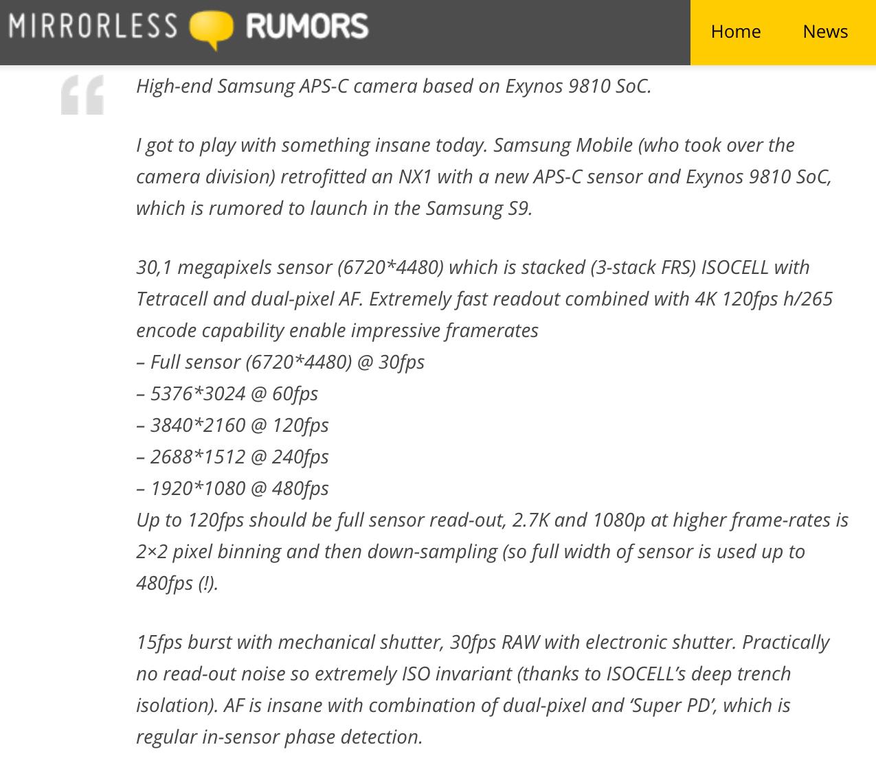 Rumeur Samsung NX